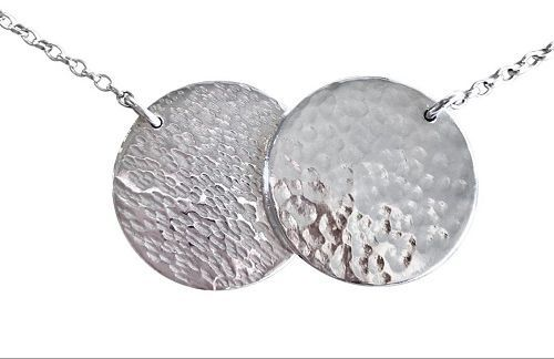 Hammered Discs Pendantin Silver